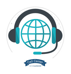 Call center globe connection headphones vector