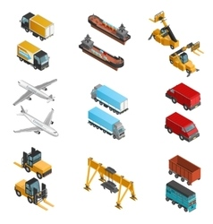Cargo Transport Isometric Icons Set vector