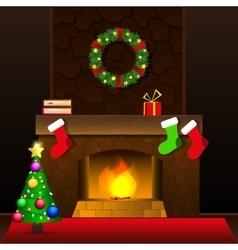 Christmas fireplace card vector image