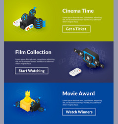 cinema time film collection and movie award vector image