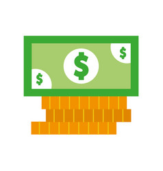 coins and bill money isolated icon vector image
