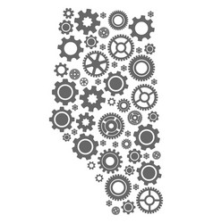 Collage map of alberta province with cogs vector