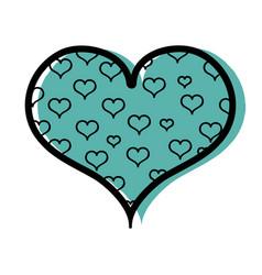 color hearts design inside big heart decoration vector image