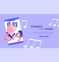 connect with music app in phone web concept vector image