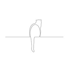 Continuous one line cat sit with its tail dangling vector