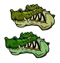 Crocodile character head with bared teeth vector