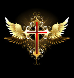 Cross with Golden Wings vector