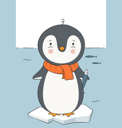 cute hand drawn penguin with fish vector image