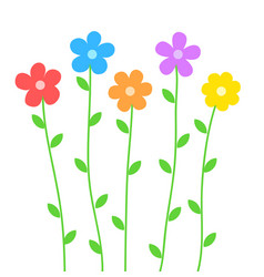 cute summer flowers in cartoon style on white for vector image