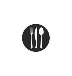 cutlery round icon knife fork spoon on a plate vector image