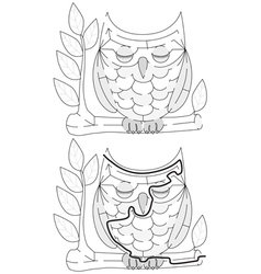 Easy owl maze vector image