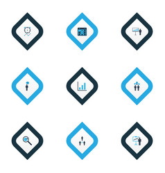 executive icons colored set with business target vector image
