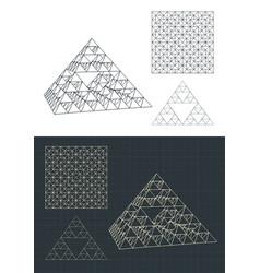 Fractal pyramid drawings vector