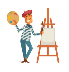 French painter with palette and easle with canvas vector