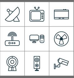 Gadget icons set with tablet web cam desktop pc vector