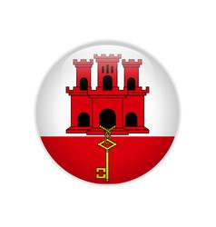 gibraltar flag on button vector image