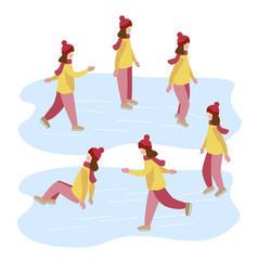 girl learns to ice skate kids winter activities vector image