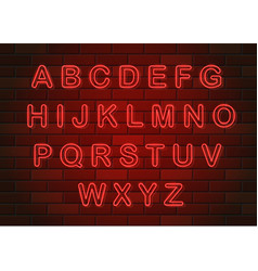glowing neon letters english alphabet on brick vector image