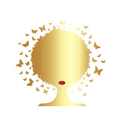 gold afro woman curly butterflies composition vector image