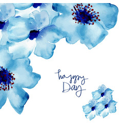 Greeting card with flowers in watercolor vector