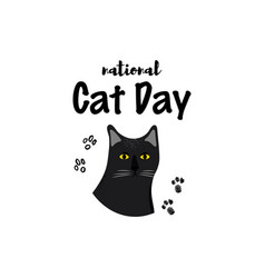 greeting card with text national cat day portrait vector image