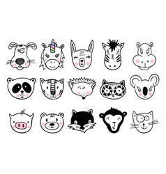 Hand drawn animals set cute doodle vector