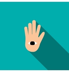 Hand with the eye icon in flat style vector image
