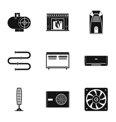 Heating con icon set simple style vector