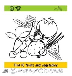 Homework for kids how to find the ten fruits vector