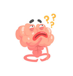 Humanized thinking cartoon brain character vector