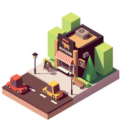 Isometric butcher shop vector