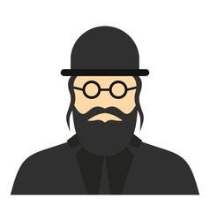 Jewish rabbi icon flat style vector