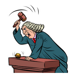Judge in robe pronounces sentence vector