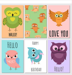 kids cards with cute cartoon owl vector image