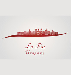 la paz skyline in red vector image