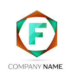Letter f symbol in the colorful hexagonal vector