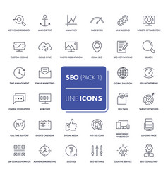 Line icons set seo vector