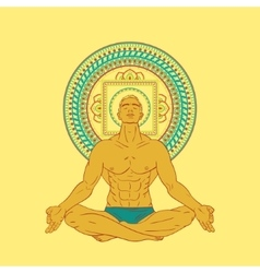 Man sitting in meditation pose vector