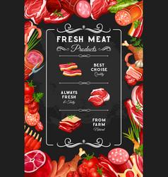 Meat beef and pork sausages butcher shop vector