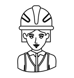 Monochrome contour half body of female architect vector