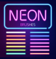 Neon brushes set vector