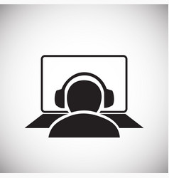 Person sitting at the computer on white backgroung vector
