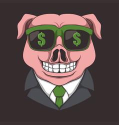 pig eyeglasses dollar vector image