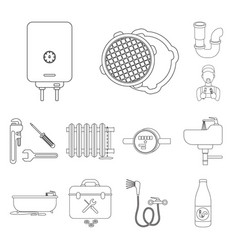 Plumbing fitting outline icons in set collection vector