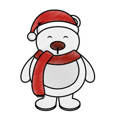 polar bear with winter hat vector image