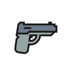 powerful pistol handgun icon on white background vector image