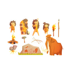 Primitive people and stone age symbols set vector