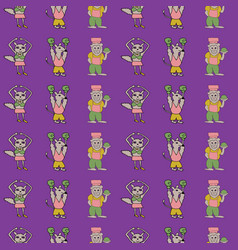 Purple vertical anthropomorphic characters vector