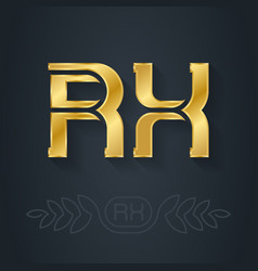 r and x initial gold logo rx - metallic 3d icon vector image