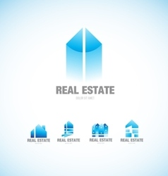 Real estate building blue logo vector